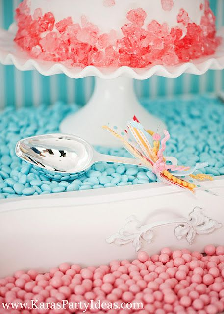 sweet shoppe candy birthday party styled by www.karaspartyideas.com for zurchers. love the scoop with the fun ribbon.