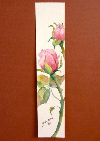 Original Pink Roses Watercolor Book Mark By Dakotaprairiestudio