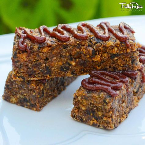 FullyRaw Energy Bars with Cherry Drizzle!  Low-fat vegan, high-carb, unprocessed, and nut-free! NEW RECIPE VIDEO: http://youtu.be/z2F5lkTtNAc