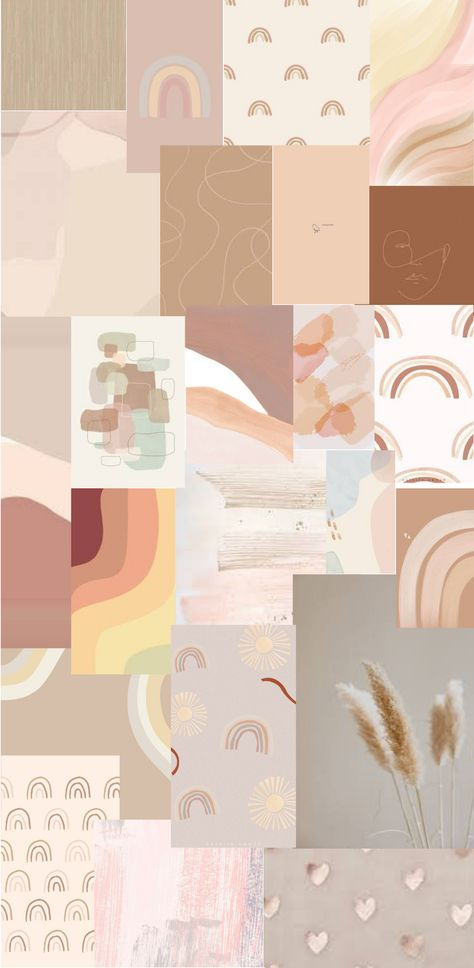 Aesthetic Neutral Collage Wallpaper for iPhone