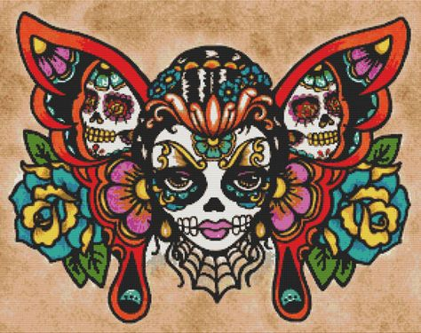 Day of the Dead Cross Stitch Kit  Sugar Skull  by GeckoRouge. PDF patterns available on request.