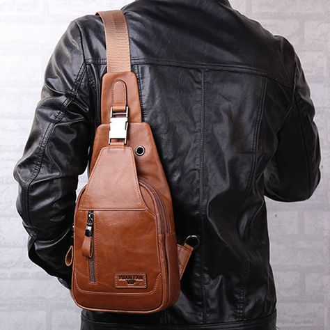 4c9b69e0d0fa9 Ekphero Men Genuine Leather Shoulder Bag Vintage Chest Bags Crossbody Bags