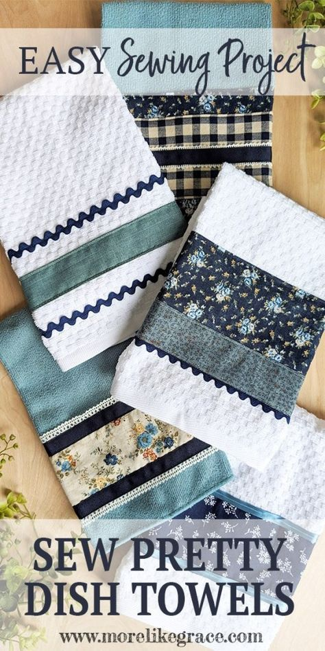 DIY kitchen dish towels with this easy sewing project featuring ribbon, rickrack. DIY kitchen dish towels with this easy sewing project featuring ribbon, rickrack… – Easy Sewing Projects, Sewing Projects For Beginners, Sewing Hacks, Sewing Tutorials, Sewing Crafts, Sewing Tips, Tutorial Sewing, Small Quilt Projects, Fabric Basket Tutorial