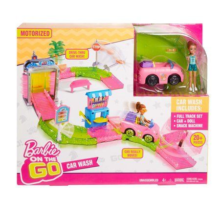 Barbie On The Go Motorized Car Wash Playset With Images Barbie