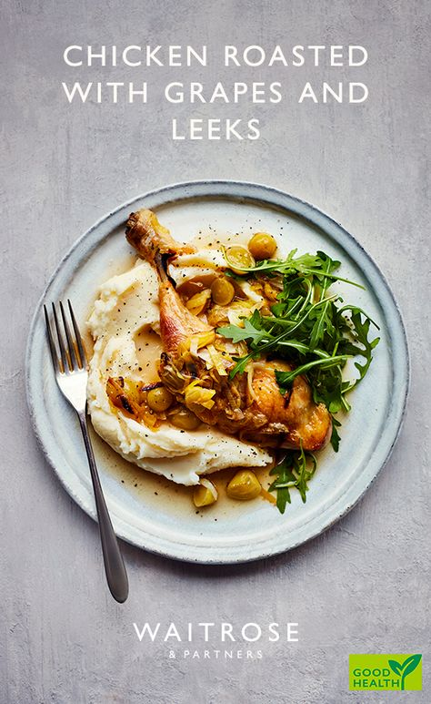 Change up your weekday dinner with our chicken roasted with grapes and leeks. The roasted chicken also works brilliantly with carrot, swede and potato mash.  Tap to see the full Waitrose & Partners recipe.