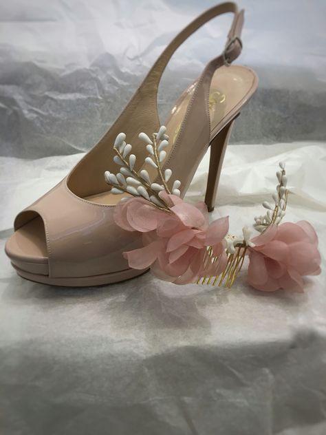 Scarpe E Scarpe Sposa.Tulle Sposa Scarpe Di Vernice Cipria Acconciatura In Porcellana E