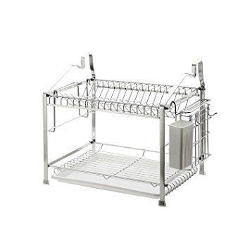 2 Tier Dish Drying Rack Dish Drainer Kitchen Storage Organization