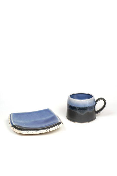 "Samantha Knopp. Indigo Brick Mug and Saucer - Cone 6 Oxidation with mixed clays (Saucer 5.""x5.5"" & Mug 3.5""x4"") . $80"