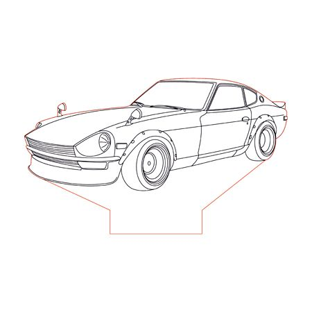 Datsun 240z 3d Illusion Lamp Plan Vector File For Laser And Cnc 3bee Studio Datsun 240z Datsun 3d Illusion Lamp