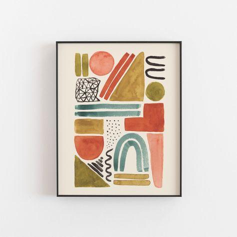 Watercolor Shape Abstract Wall Art Print