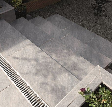 Bradstone Aspero Porcelain Paving In Silver Grey Exterior Tiles Patio Tiles Dark Grey