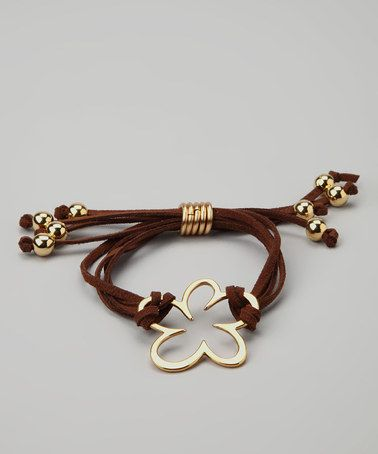 Take a look at this Farfan Jewelry Brown & Gold Flower Suede Bracelet by Farfan Jewelry on #zulily today!