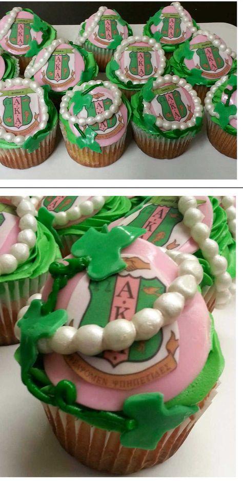 Alpha Kappa Alpha cupcakes