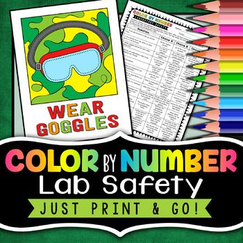 Lab Safety Color By Number Back To School Science Activity