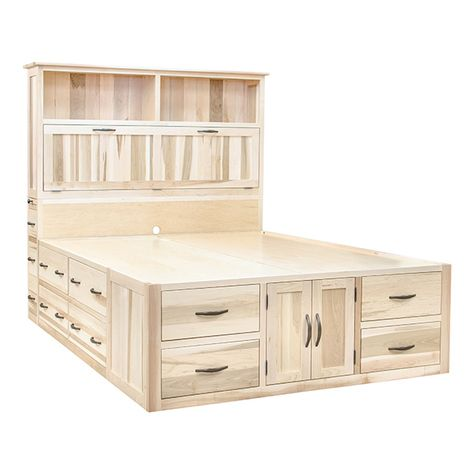 This is the Ultimate Storage Bed Standard drawers are in the platform plus 3 additional side facing drawers and a convenient pull out shelf Twin Full Queen and king in ev.