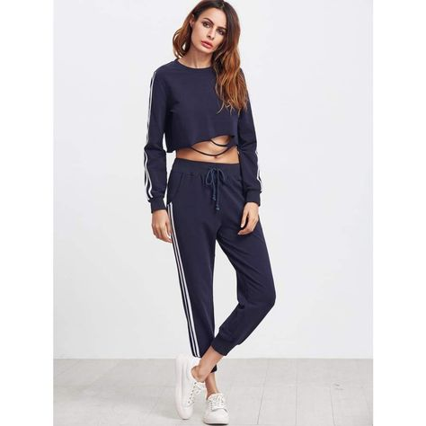 Pant Length(cm): XS:88.5cm, S:89.5cm, M:90.5cm, L:91.5cm Cuff(cm): XS:15cm, S:16cm, M:17cm, L:18cm Fabric: Fabric has some stretch Season: Spring, Fall Suit Type: Pants Pattern Type: Striped Color: Navy Material: 95% Cotton, 5% Spandex Neckline: Round Neck Sleeve Length: Long Sleeve Style: Casual, Sports Shoulder(cm):
