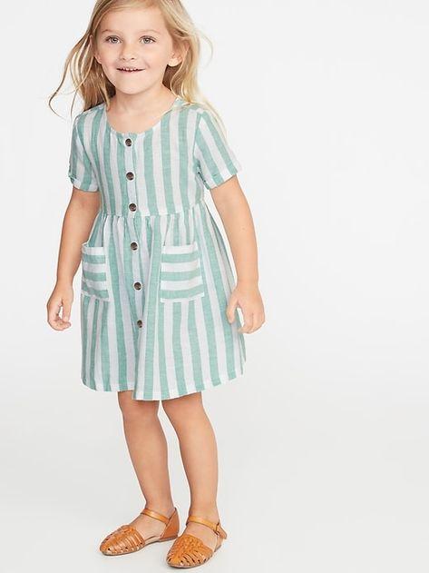 Old Navy Toddlers' Striped Waist-Defined Shirt Dress Green Stripe Regular Size 5T