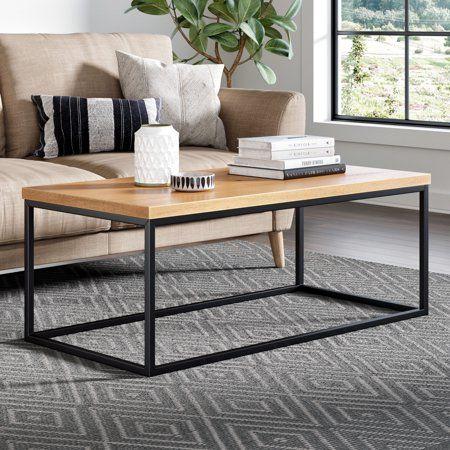 Doxa Solid Wood Modern Industrial Coffee Table Black Metal Box Frame With Dark Walnut Finish Walmart Com Coffee Table