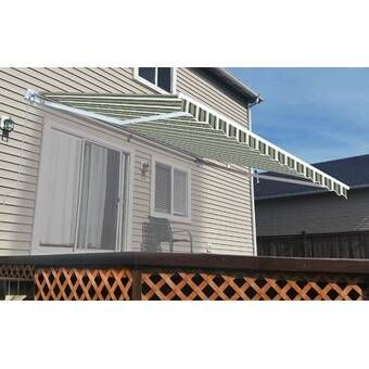 10 Ft W X 8 Ft D Fabric Retractable Standard Patio Awning With Images Patio Patio Awning Pergola Patio
