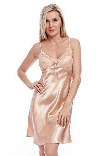 BellisMira Women's Satin Lace Full Slip Chemise Silk Nightgown Sleepwear #chemise #nightgown #sleepwear