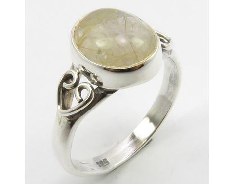 Golden Rutile Handwork Ring Size 7 Nouveau Affordable Wedding Jewelry Collection 925 Solid Sterling