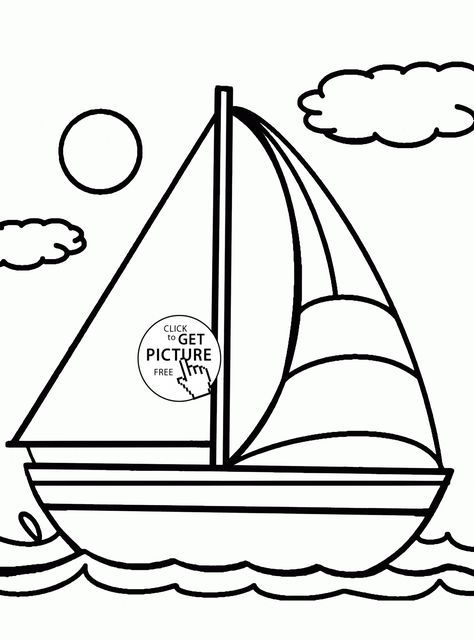 Cute Sailboat Coloring Page For Kids, Transportation Coloring Pages  Printables Free - Wuppsy.com Coloring Pages For Kids, Coloring For Kids, Coloring  Pages