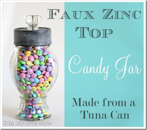 Make this Vintage candy jar using a tuna can.  Faux Zinc painting tutorial