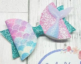 Mermaid Themed Bow Glitter Mermaid Tail Medium Dolly Mermaid Bow With Embellishment Mermaid Scale Bow Glitter U Boutique Hair Bows Fancy Bows Boutique Bows