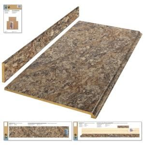Hampton Bay 4 Ft Laminate Countertop Kit In Winter Carnival Granite With Valencia Edge 12337kt04n1874 Countertop Kit Laminate Countertops Hampton Bay