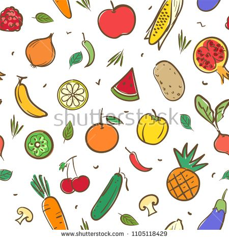 Cute Mix Fruits And Vegetables Seamless Pattern Background Vector Format In Hand Drawing Cartoon Vector Background Pattern Cartoon Styles Background Patterns