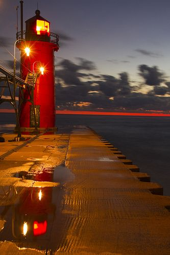 Night Lighthouse, after sunset on the South Haven pier, Michigan