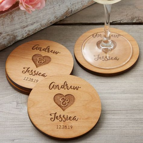Rustic Wedding Party Favors Personalized Coasters These Rustic Engraved Wood Coasters are gorgeous! These personalized coasters can be engraved with any 2 names and date - they make a great wedding gift idea or wedding favor idea! Wedding Souvenirs For Guests, Creative Wedding Favors, Inexpensive Wedding Favors, Cheap Favors, Great Wedding Gifts, Beach Wedding Favors, Bridal Shower Favors, Bridal Showers, Our Wedding