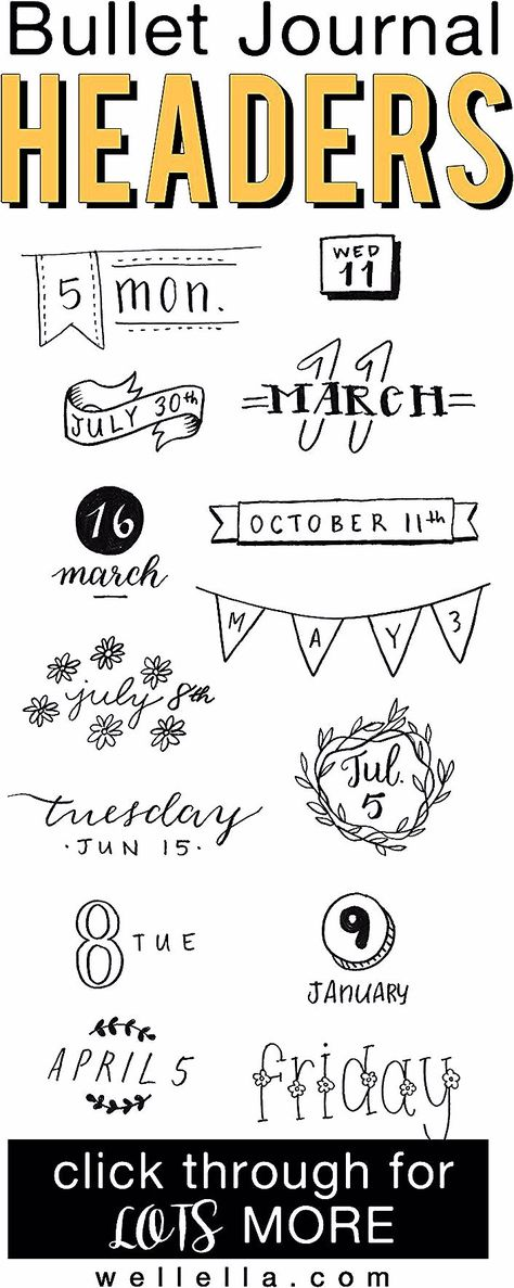 Bullet journal headers help your bujo titles stand out. Check out these examples of different bujo fonts, banners, and headers to copy in your journal. #journaling #bulletjournal #planners