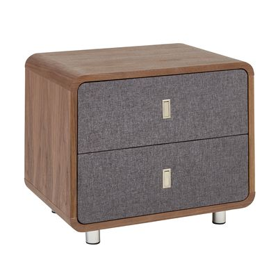 Malone Upholstered Bedside Table Walnut And Grey Fabric Dwell