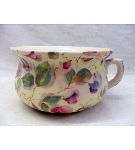 Decorative purple sweet pea design chamber pot planter