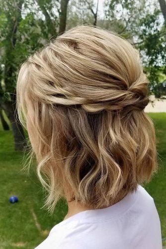 Wedding Hair Half Up Ideas Wedding Hair Half Up Half Down Swept On Short Ha Updos For Medium Length Hair Medium Length Hair Styles Easy Updos For Medium Hair