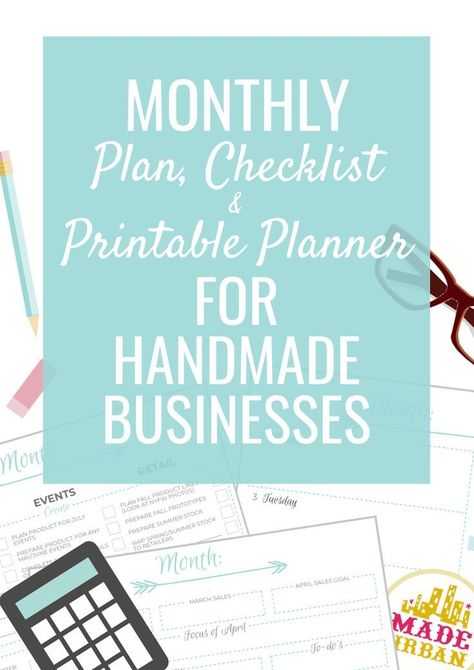 Monthly Plan & Checklist for a Handmade Business - Made Urban