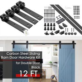 12ft Sliding Barn Door Closet Hardware Set Black Wood Antique Style Double Track Kit System Walmart Com Sliding Barn Door Closet Barn Door Rustic Barn Door Hardware