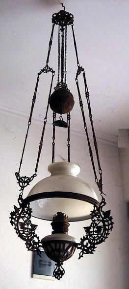victorian lamps   ANTIQUE VICTORIAN HANGING OIL LAMP LIGHT ...