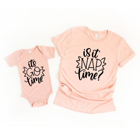 Is It Nap Time Matching Mommy and Me Shirts - Peach / L / 6M
