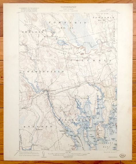 Steuben Maine Map.Antique Cherryfield Maine 1904 Us Geological Survey Topographic Map