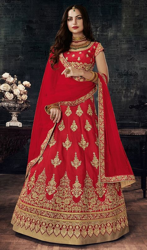 2287759f09 765617 Red and Maroon color family Bridal Lehenga in Art Silk fabric with  Thread, Zari work .