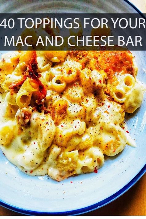 40 Toppings for Your Mac and Cheese Bar Mac and Cheese Bars are ago-to favorite for wowing your guests, and now you can up your game even more with these delicious toppings! Party Food Bars, Party Food Platters, Pasta Bar, Cheese Bar, Best Mac And Cheese, 6 Cheese Mac And Cheese, Cheese Dishes, Dinner Party Appetizers, Recipes Dinner