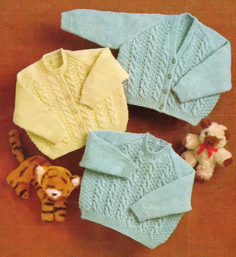 2639f9cd35b6 Baby Knitting Pattern - Cardigan and Sweater - to fit 6 to 18 months ...