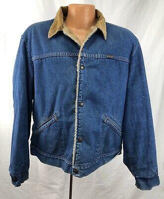 Vintage 1980s Wrangler Denim Jacket Tan Sherpa Trucker Corduroy Collar Blue Jean Ebay In 2020 Lined Denim Jacket Vintage Wrangler Mens Jackets
