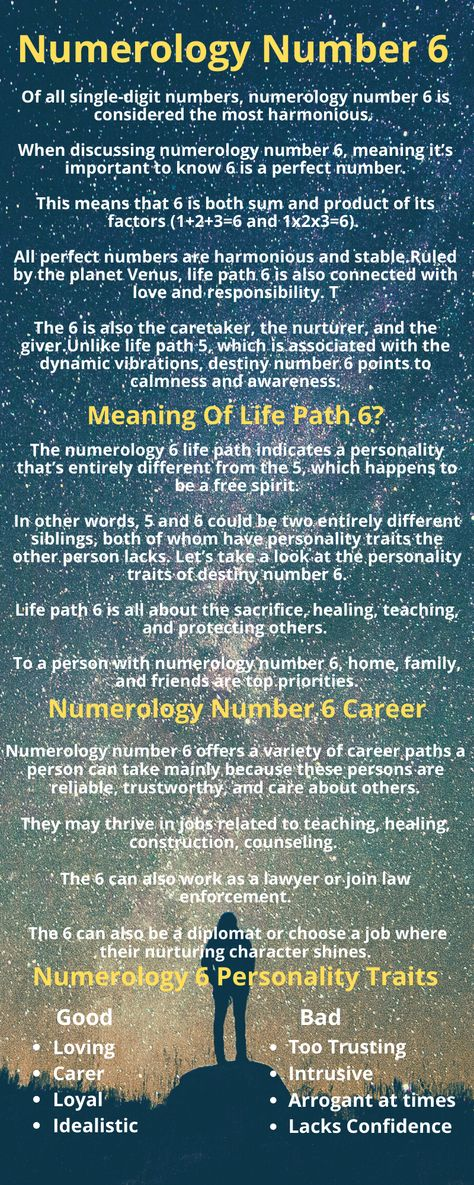 What Is The Meaning Of Life Path 6?  Of all single-digit numbers, numerology number 6 is considered the most harmonious.   Ruled by the planet Venus, life path 6 is also connected with love and responsibility.   Life path 6 is all about the sacrifice, healing, teaching, and protecting others.   To a person with numerology number 6, home, family, and friends are top priorities.  Life Path 6 points to calmness and awareness.  Find more about Numerology Number 6 in this pin.