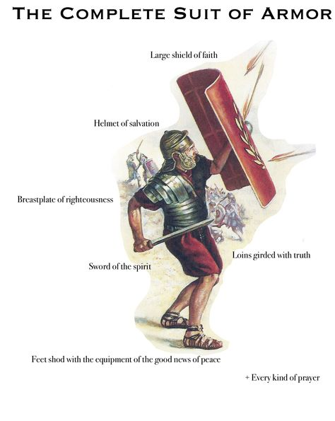 """Ephesians 6 - The complete suit of armor for Christians. Family Worship Project: Research each piece of the """"complete suit"""". Explain how we get and maintain each piece. More"""