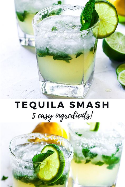 A refreshing Tequila smash cocktail made with just 5 simple ingredients!This easy tequila cocktail is like a classic margarita and mojito in one for a lemon & lime cocktail. Top with a salted rim for Refreshing Cocktails, Easy Cocktails, Summer Drinks, Cocktail Drinks, Fun Drinks, Cocktail Recipes, Cocktails Using Mint, Cocktail With Mint, Simple Tequila Drinks