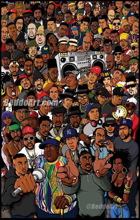 Eric B & Rakim, Brand Nubian, Salt n' Pepa, Mobb Deep, MC Lyte, Outkast, Wu-Tang... The Golden Age (color) print features over 100 of the...