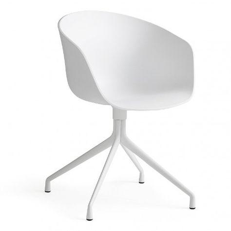 Hay About A Chair 20 Drehstuhl Mit Armlehnen Weiss Gestell Aluminium Pulverbeschichtet Weiss Mit Kunststoffgleitern In 2019 Drehstuhl Burostuhl Weiss Und Stuhle